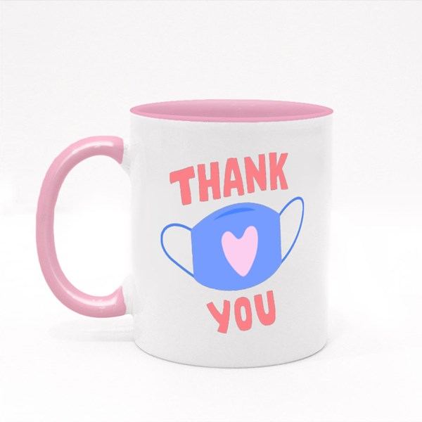 Thank You - Mask With Heart Sign Colour Mugs