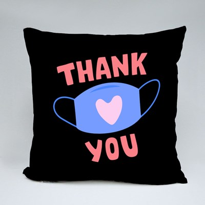Thank You - Mask With Heart Sign Throw Pillows