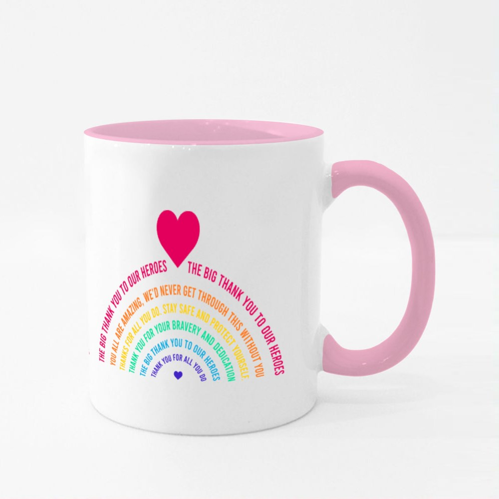 Thank You to All Health Workers in Rainbow Colour Mugs