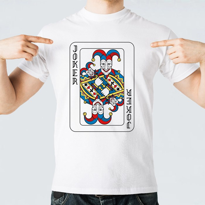 A Playing Card Joker in Yellow, Red, Blue and Black T-Shirts