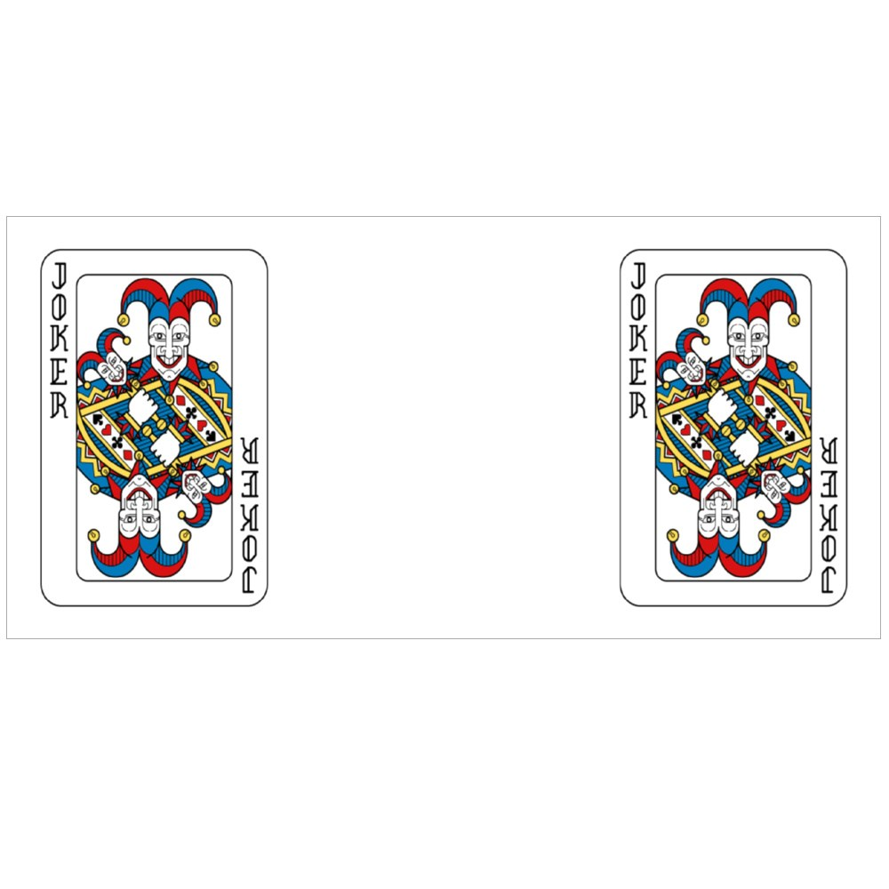 A Playing Card Joker in Yellow, Red, Blue and Black Colour Mugs