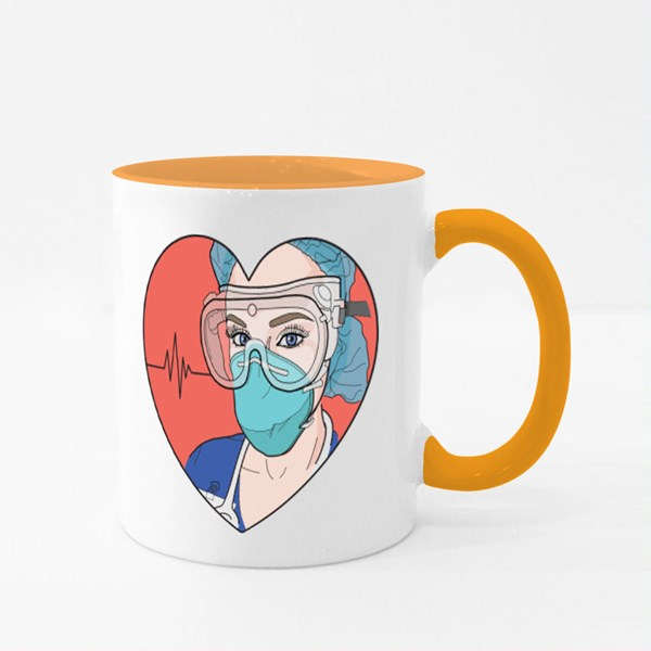 Nurse in a Heart Wearing Personal Protective Colour Mugs