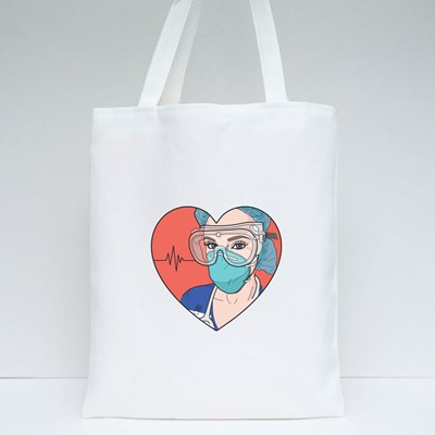Nurse in a Heart Wearing Personal Protective Tote Bags