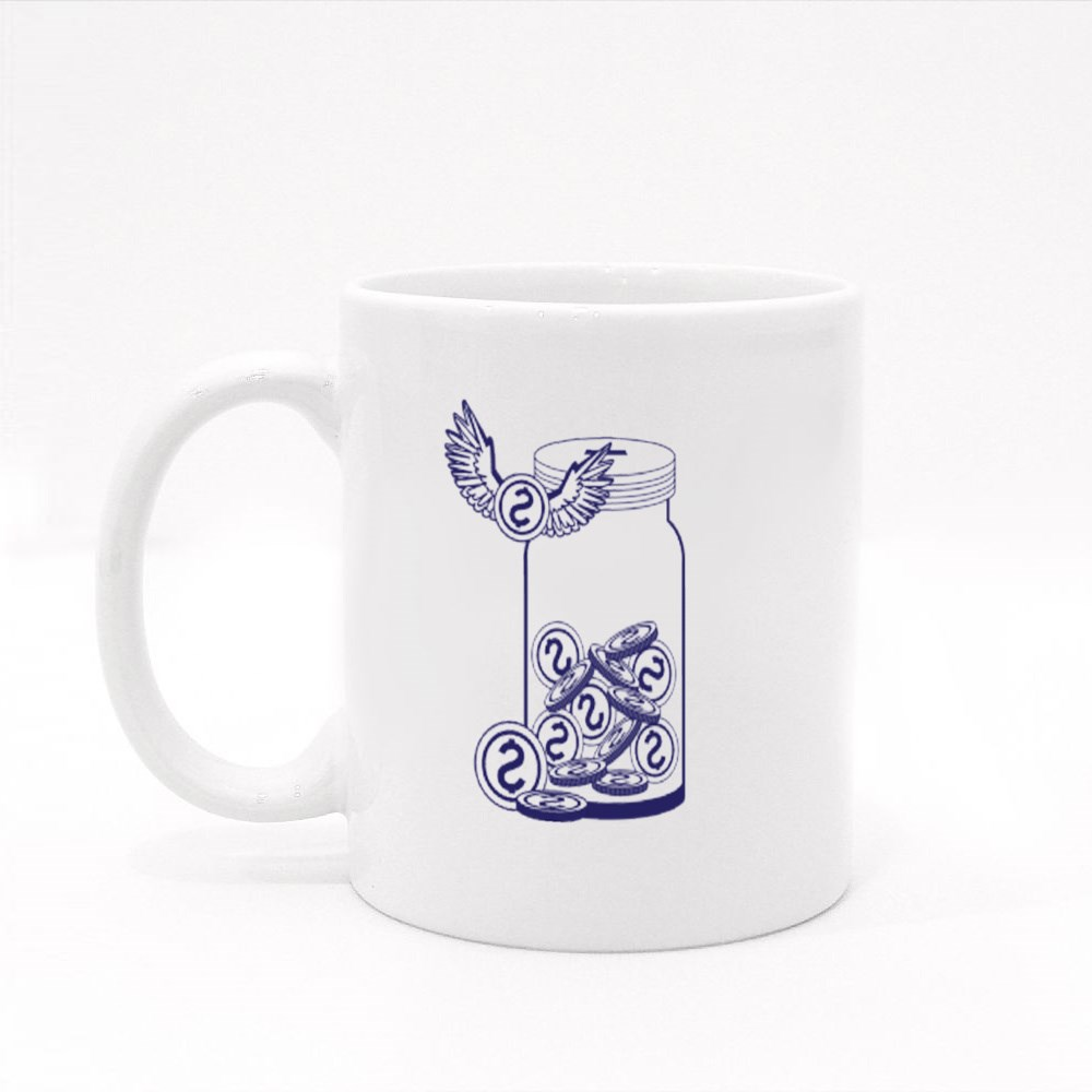 Bottle With Money Coins and Coin With Wings With Over White Background Colour Mugs