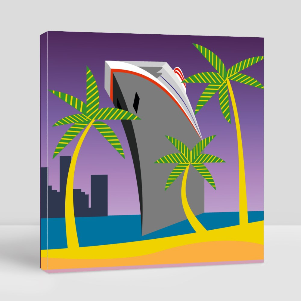 Palm Tree and Cruise Ship Arriving at a Tropical Island Canvas (Square)