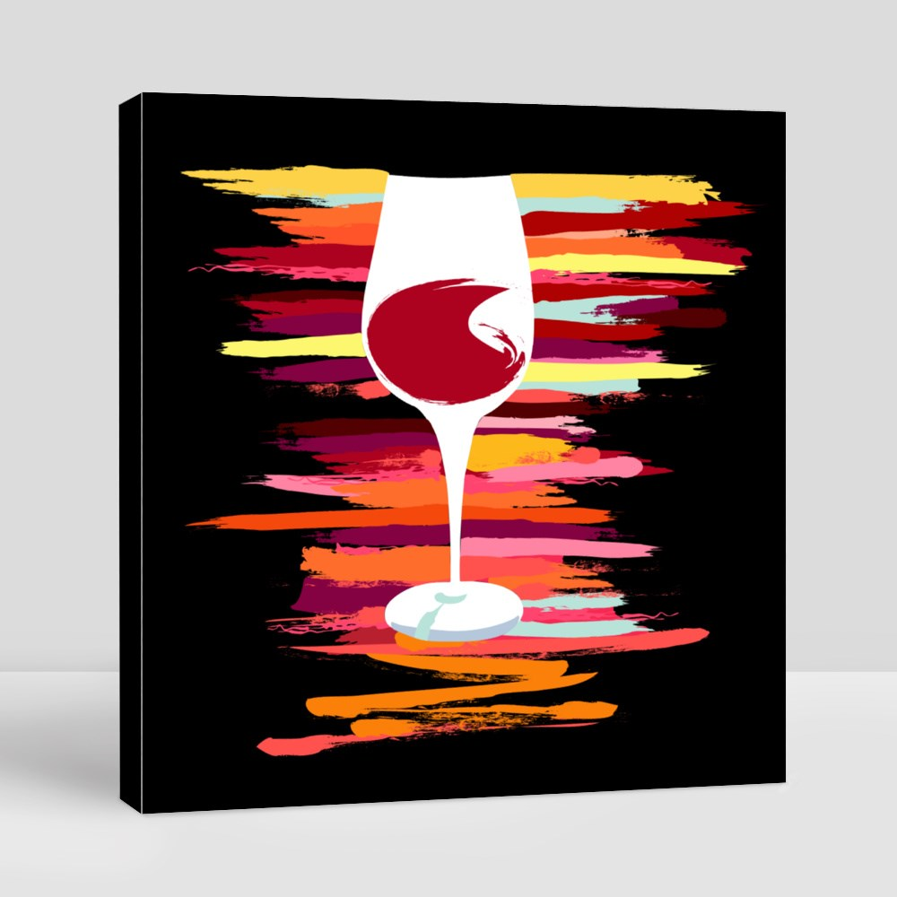 A Drawing of a Glass of Red Wine With a Vibrant Texture Canvas (Square)