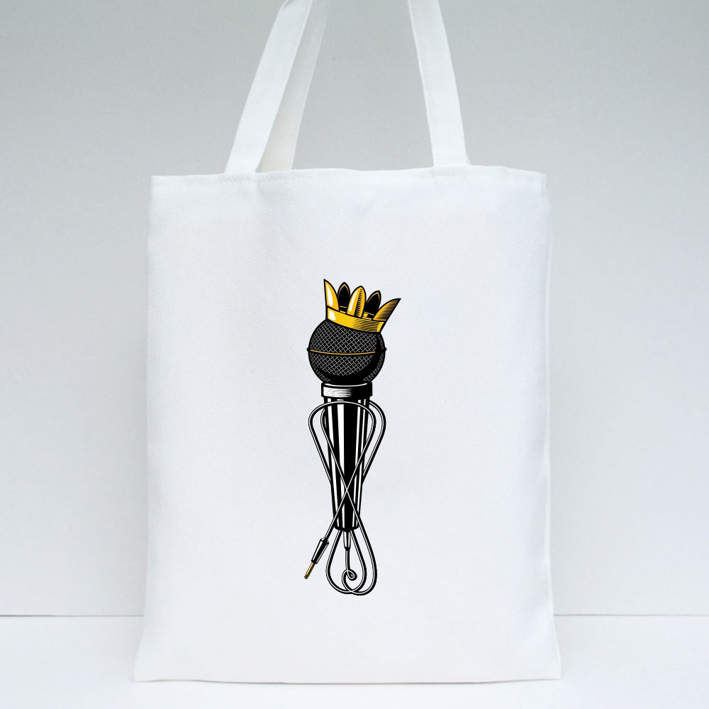 Microphone With Kings Crown Tote Bags