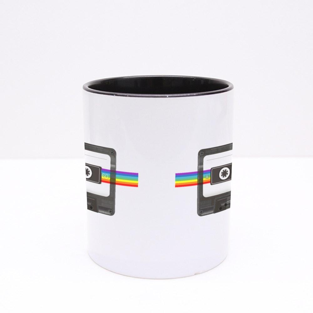 Audio Cassette and Rainbow Colour Mugs