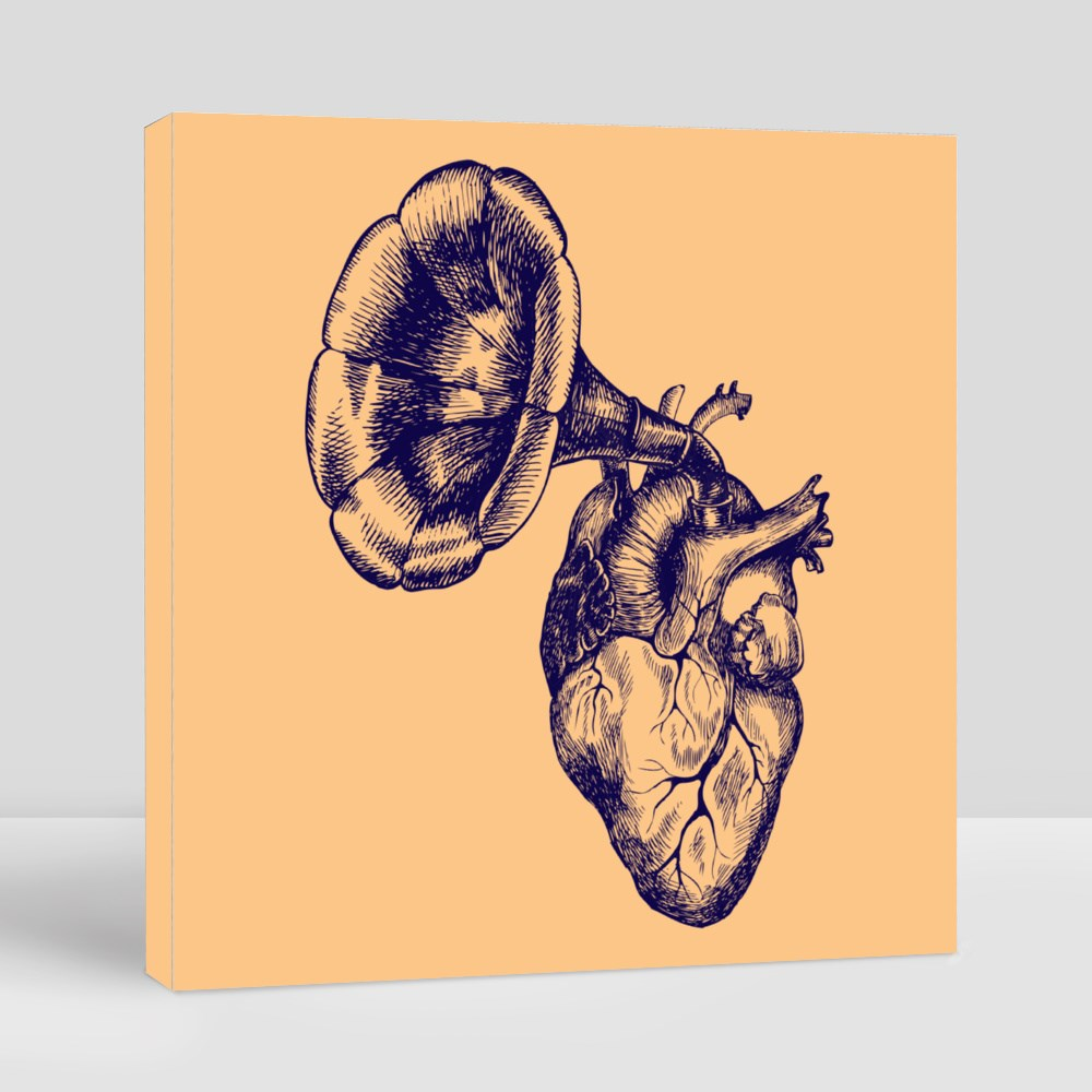 a Human Heart and a Gramophone Tube Canvas (Square)