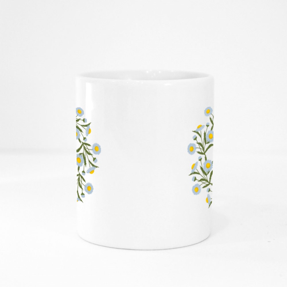 Floral Round Frame from Summer Flowers Colour Mugs
