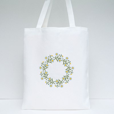Floral Round Frame from Summer Flowers Tote Bags