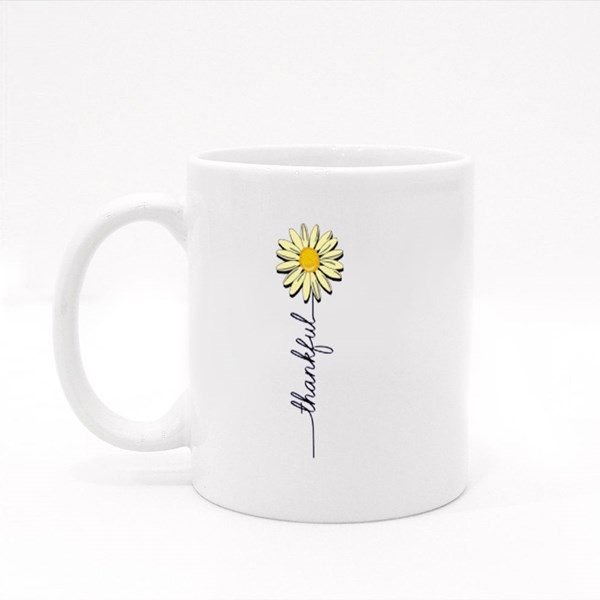 Lavender Daisy Thankful Colour Mugs