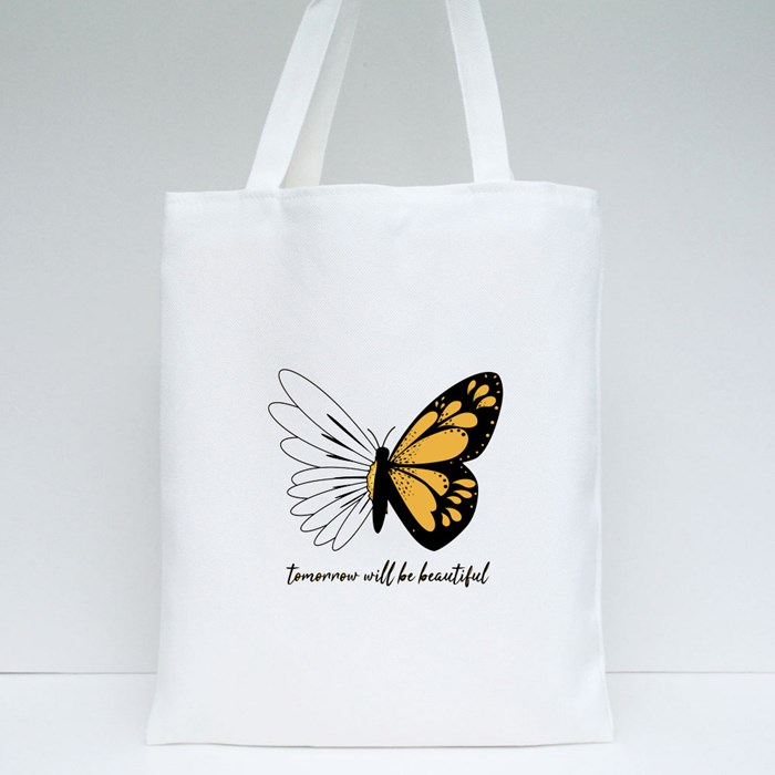 Tomorrow Will Be Beautiful Butterflies and Daisies Positive Quote Tote Bags