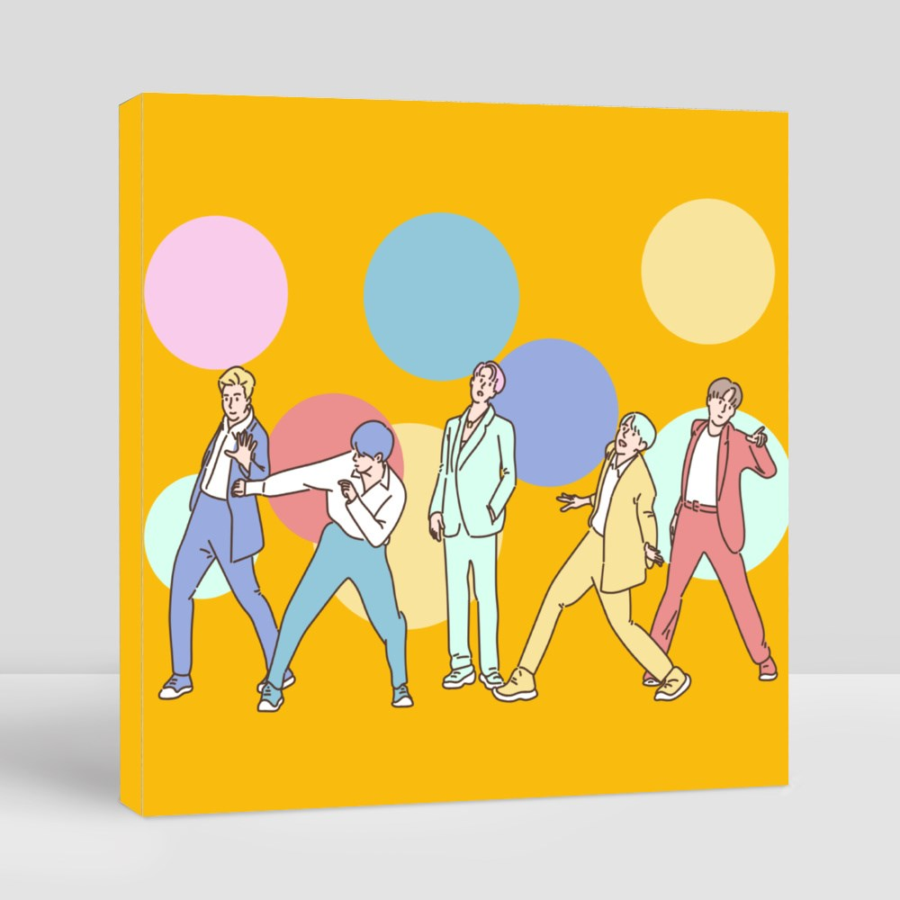 The K Pop Boy Group on the Stage Poses Variously Canvas (Square)