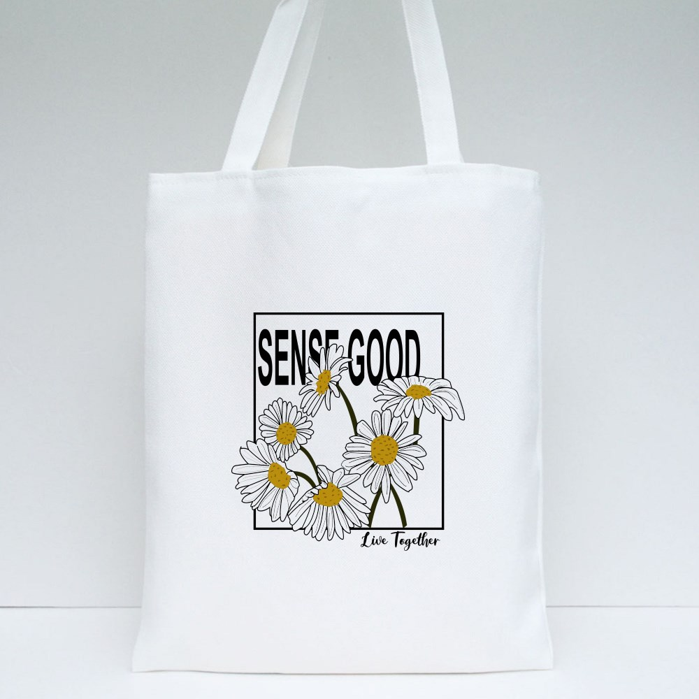 Sense Good Live Together Quote With Daisy Flower Summer Spring Flower Tote Bags