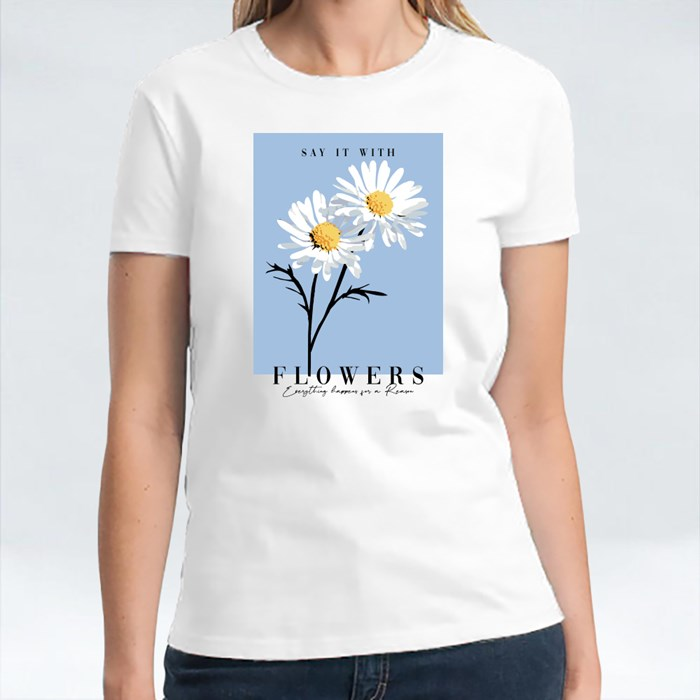Graphic T-Shirt Print With Daisies 短袖T恤
