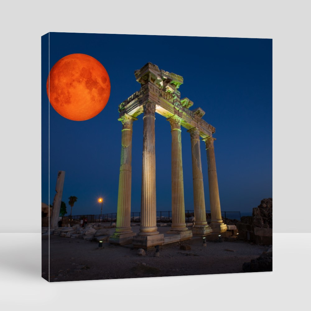 Temple of Apollo Against Blood Moon Canvas (Square)
