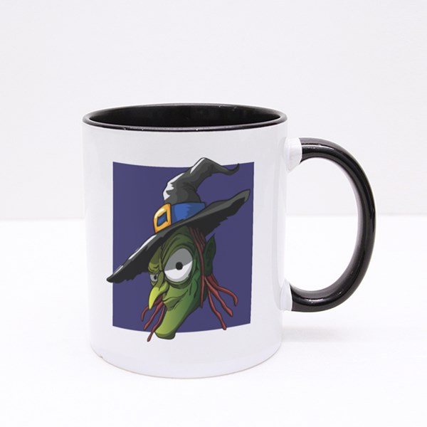 Scary Old Witch, Halloween Character Colour Mugs