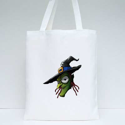 Scary Old Witch, Halloween Character Tote Bags
