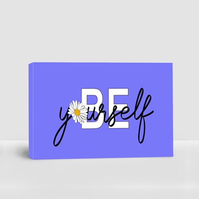 Be Yourself Lettering Quote Hand Drawn Canvas (Landscape)