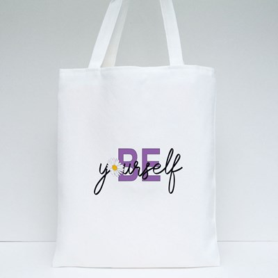 Be Yourself Lettering Quote Hand Drawn Tote Bags