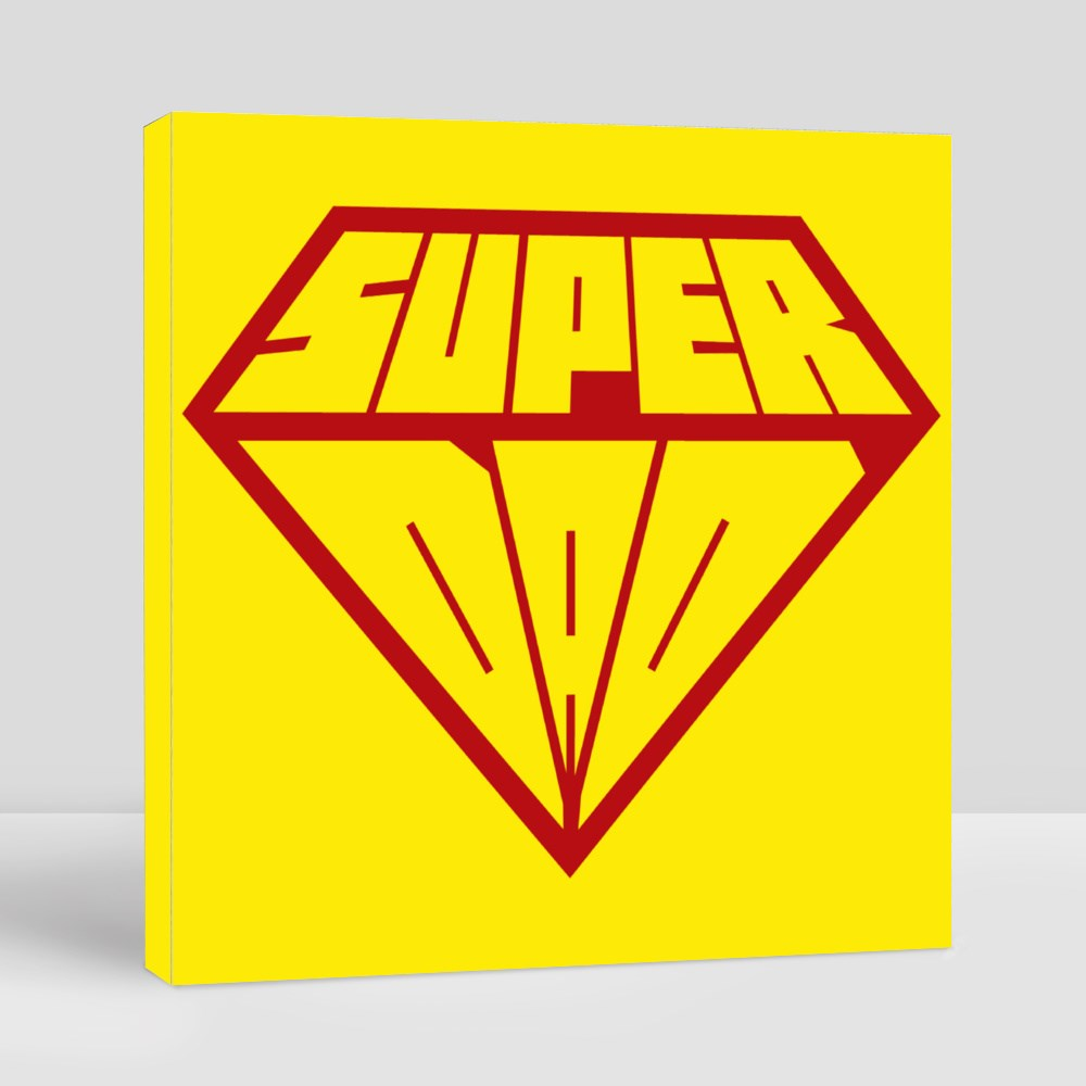 Fathers Day Card for Dad. Super Dad Shield Canvas (Square)