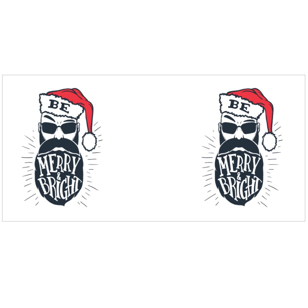 Be Merry and Bright. Hand Lettering on a Bearded Man With a Santa Hat Colour Mugs