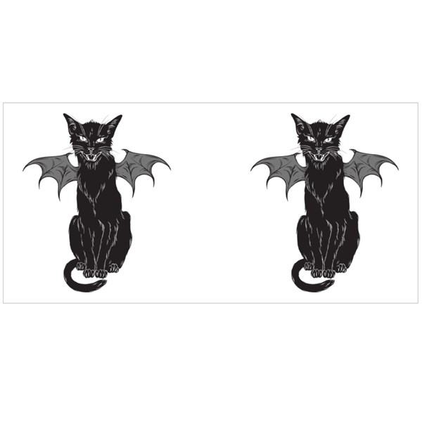 Creepy Black Cat With Monster Wings Colour Mugs