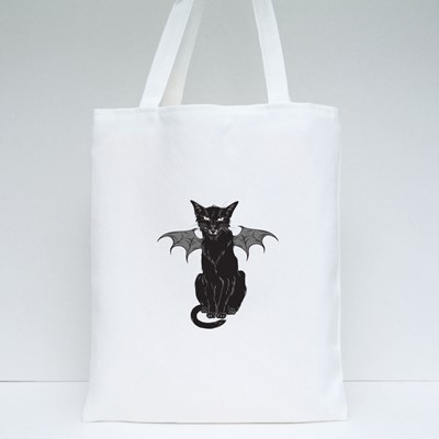 Creepy Black Cat With Monster Wings Tote Bags