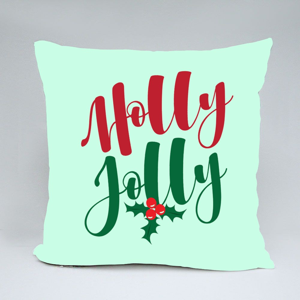 Holly Jolly - Hand Lettering Holiday Red and Green Inscription Bantal