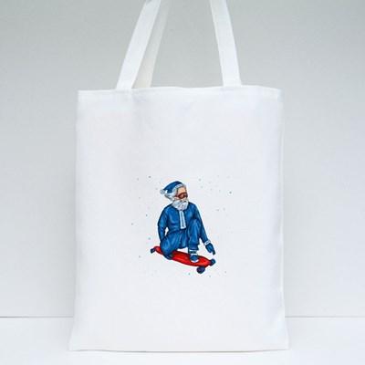 Stylish Skater Wearing Santa Claus Costume Tote Bags