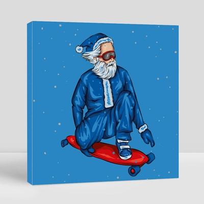 Stylish Skater Wearing Santa Claus Costume Canvas (Square)