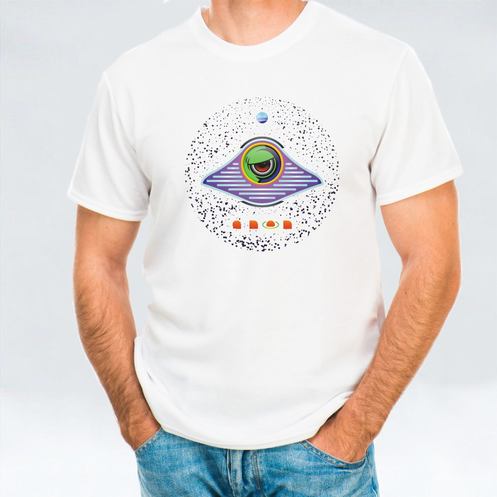 Alien in a Flying Saucer on the Background of Outer Space T-Shirts