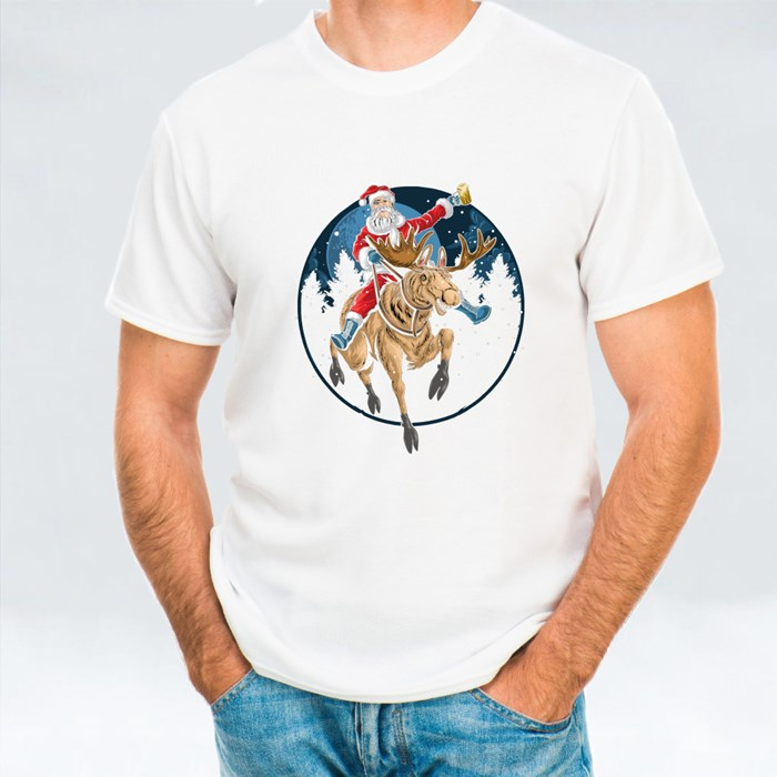Santa Claus Riding a Christmas Reindeer and Singing T-Shirts