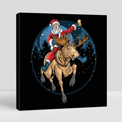 Santa Claus Riding a Christmas Reindeer and Singing Canvas (Square)