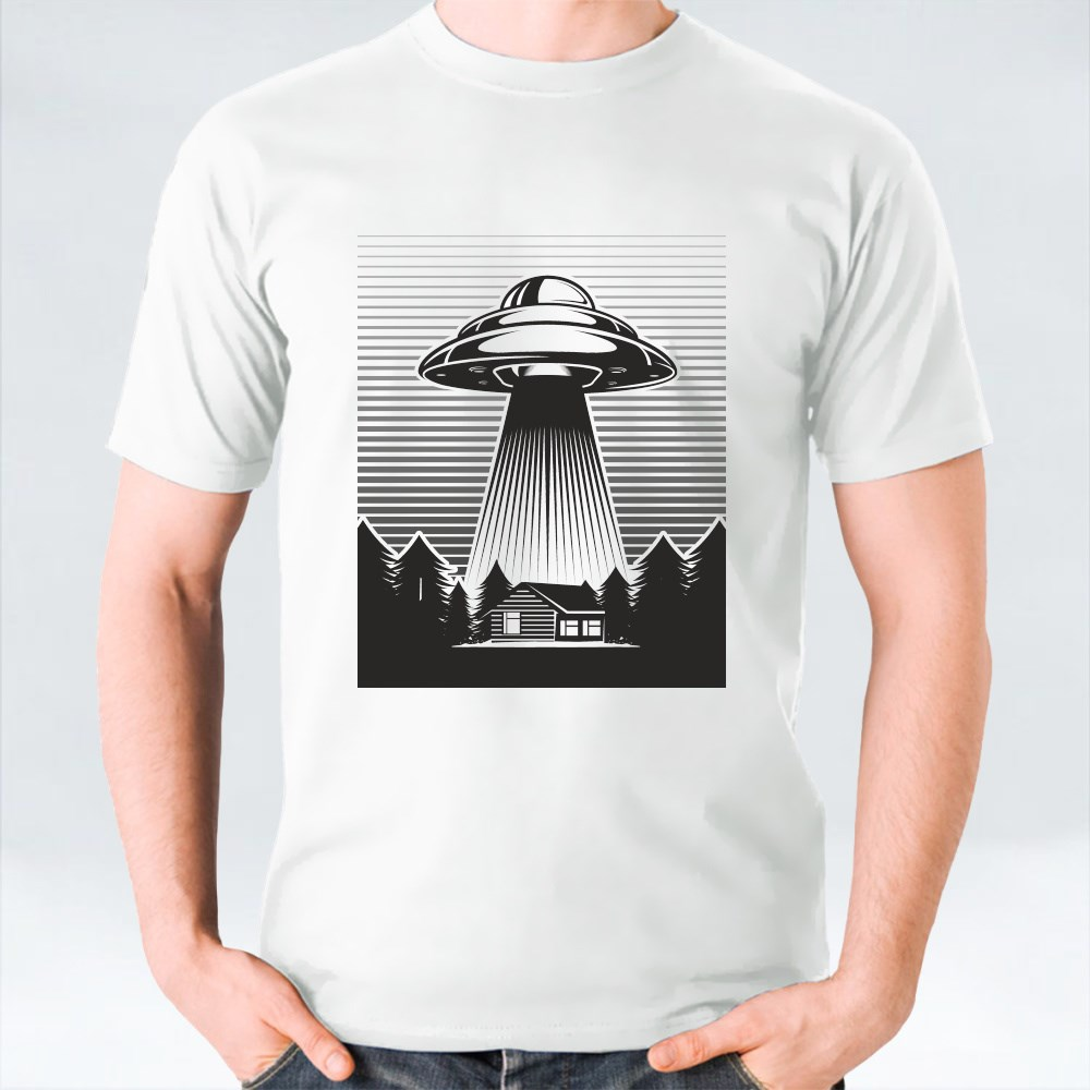 Ufo Poster Vintage. Aliens Abduct from a Farm T-Shirts