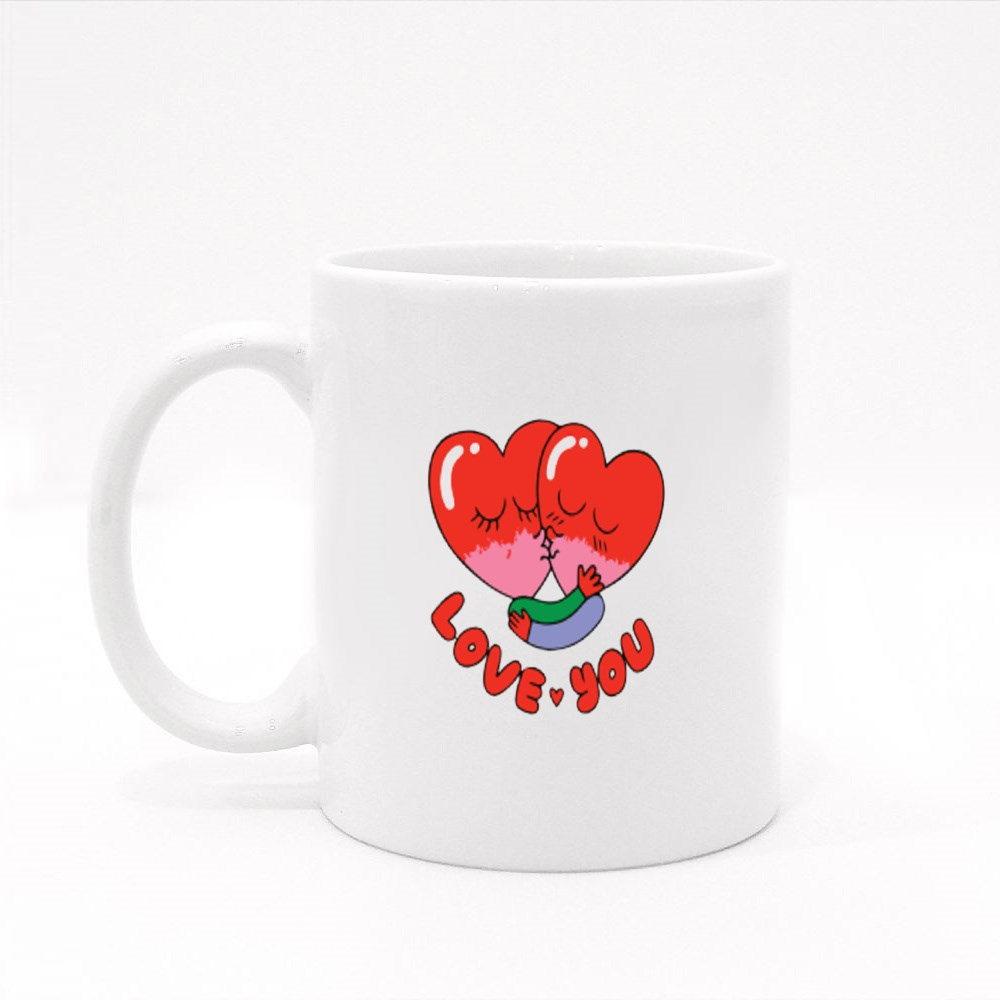 Love You Stylish T-Shirt and Apparel Trendy Design With Typography Colour Mugs