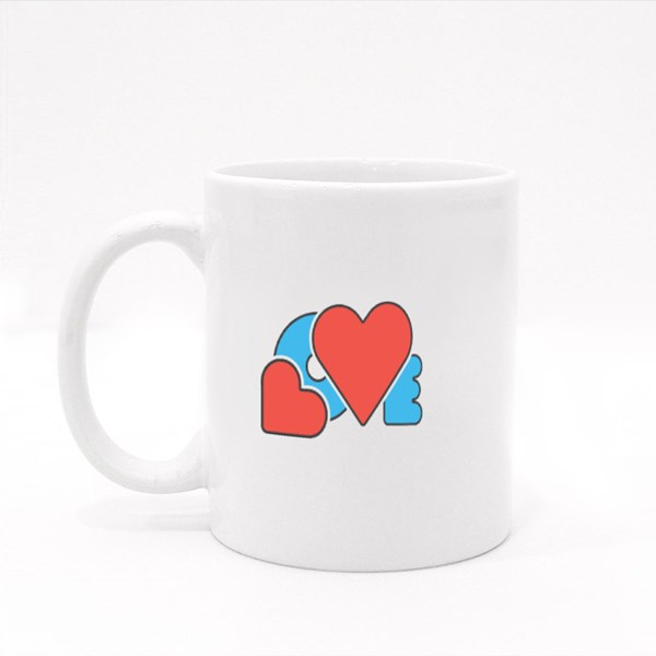 Red Blue Color Creative Design Word Love With Hearts Symbol Love Colour Mugs