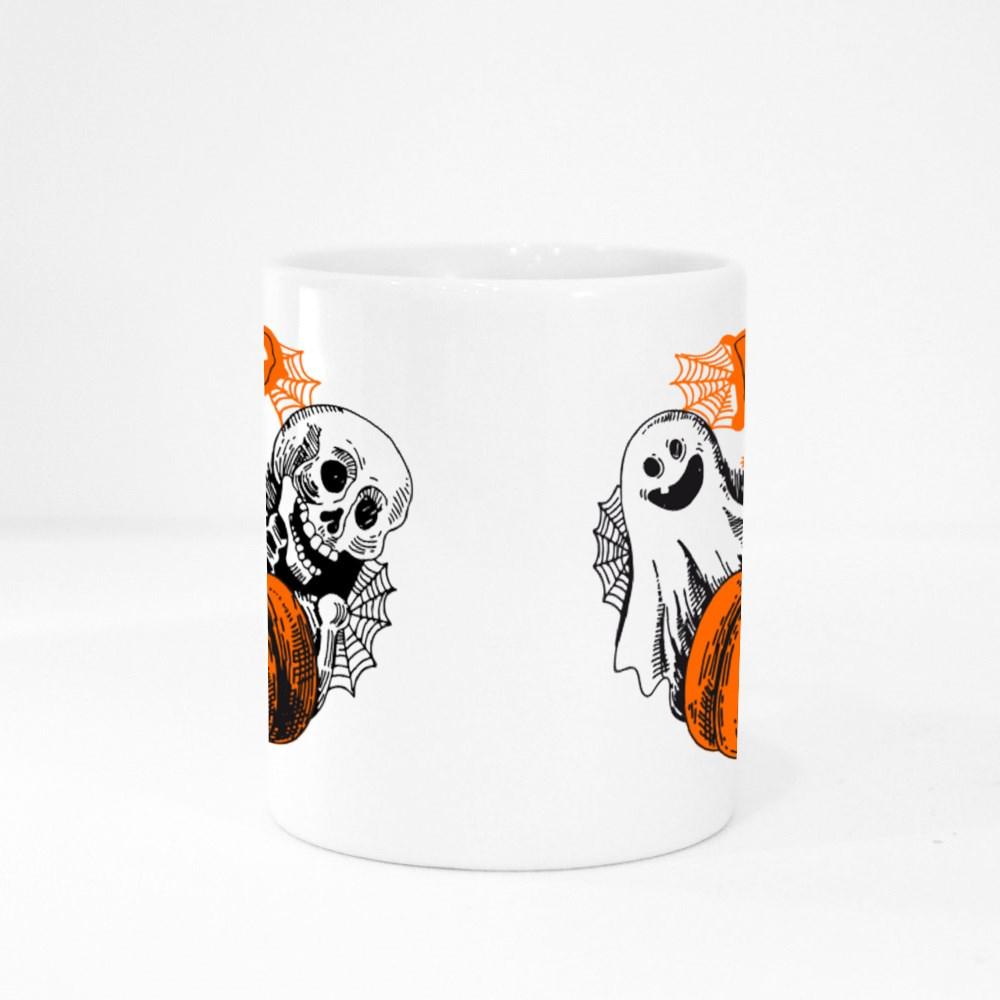 Boo Ghost Skeleton and Pumpkin Colour Mugs