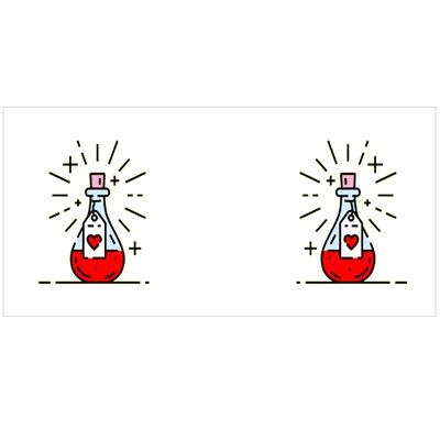 Love Potion Icon. Love Spell Magic Bottle Magic Mugs