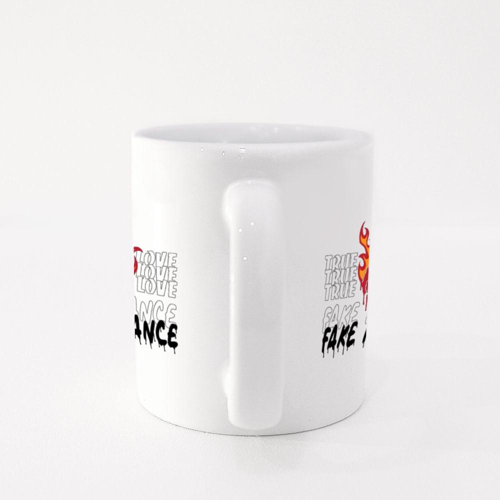 Burning Rose With Slogan Print Design Colour Mugs