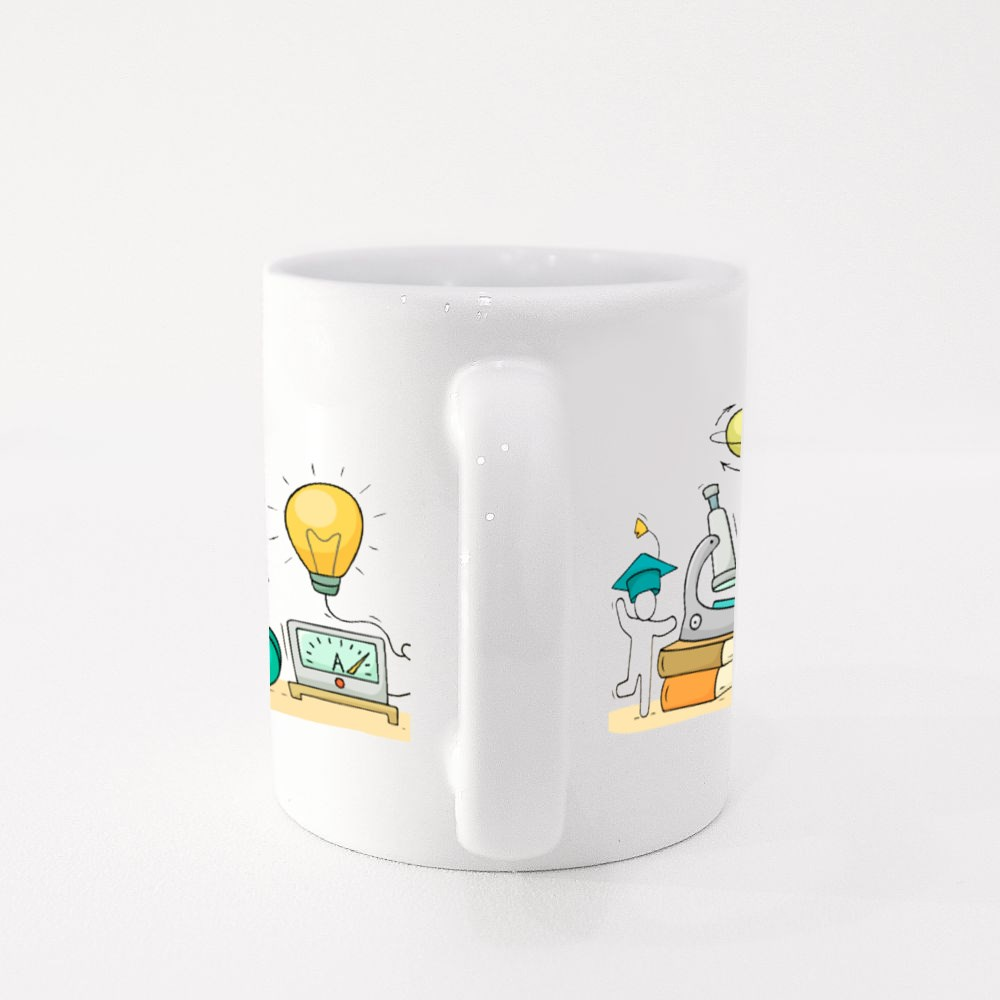 Sketch of Physics Lab With Working Little People Colour Mugs