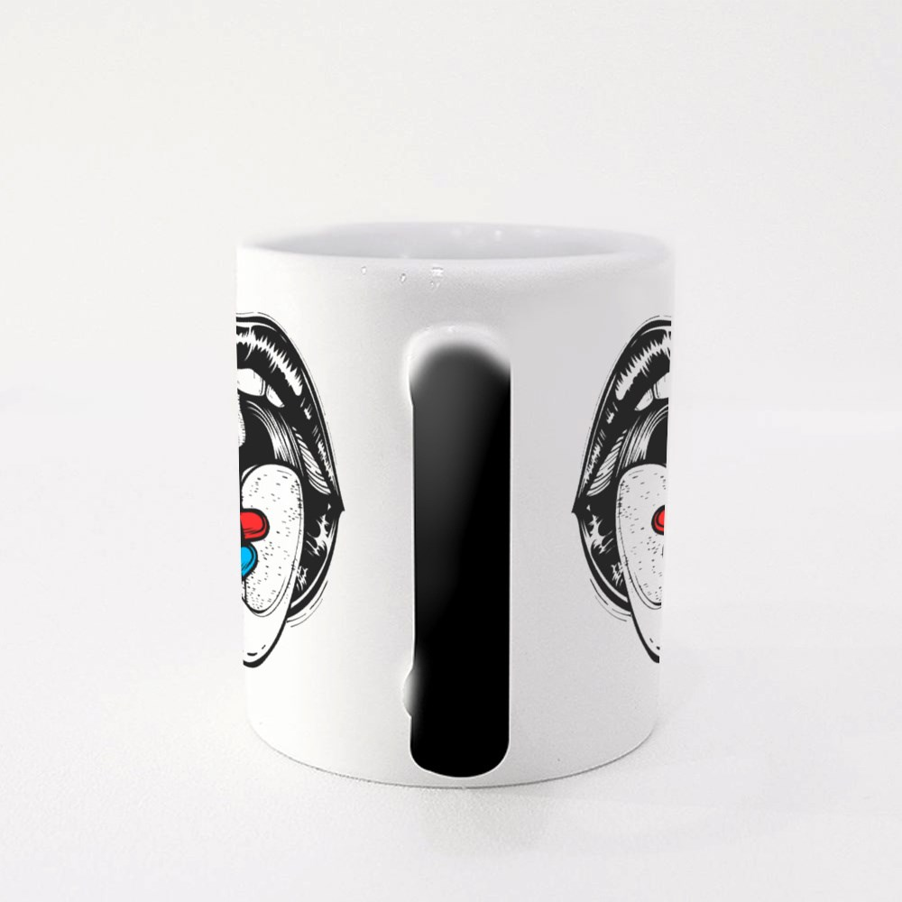 Open Mouth With Red and Blue Pill on Tongue Magic Mugs