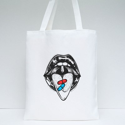 Open Mouth With Red and Blue Pill on Tongue Tote Bags