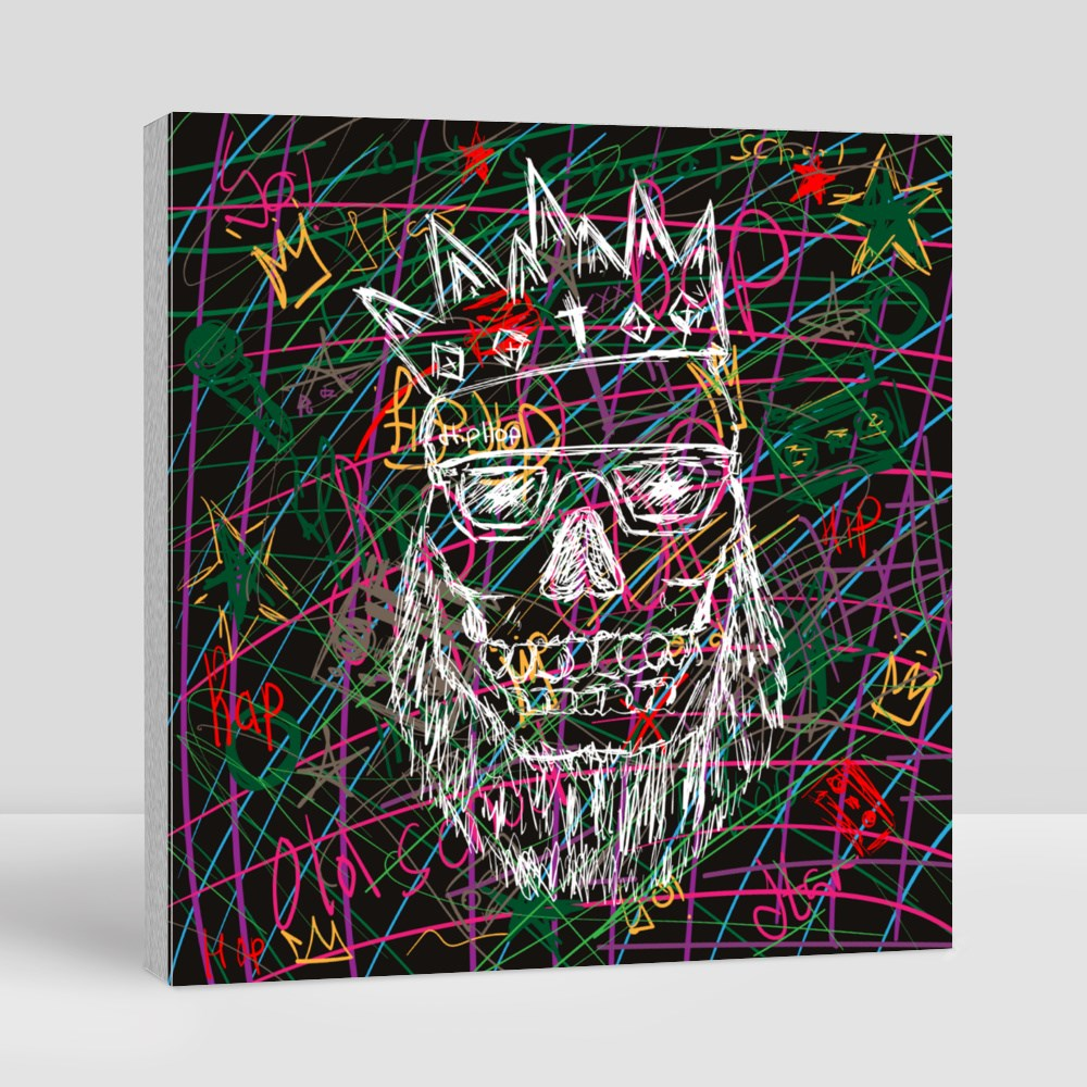 Stylish Print Drawn by Hand. Fashionable Skull With Crown Canvas (Square)