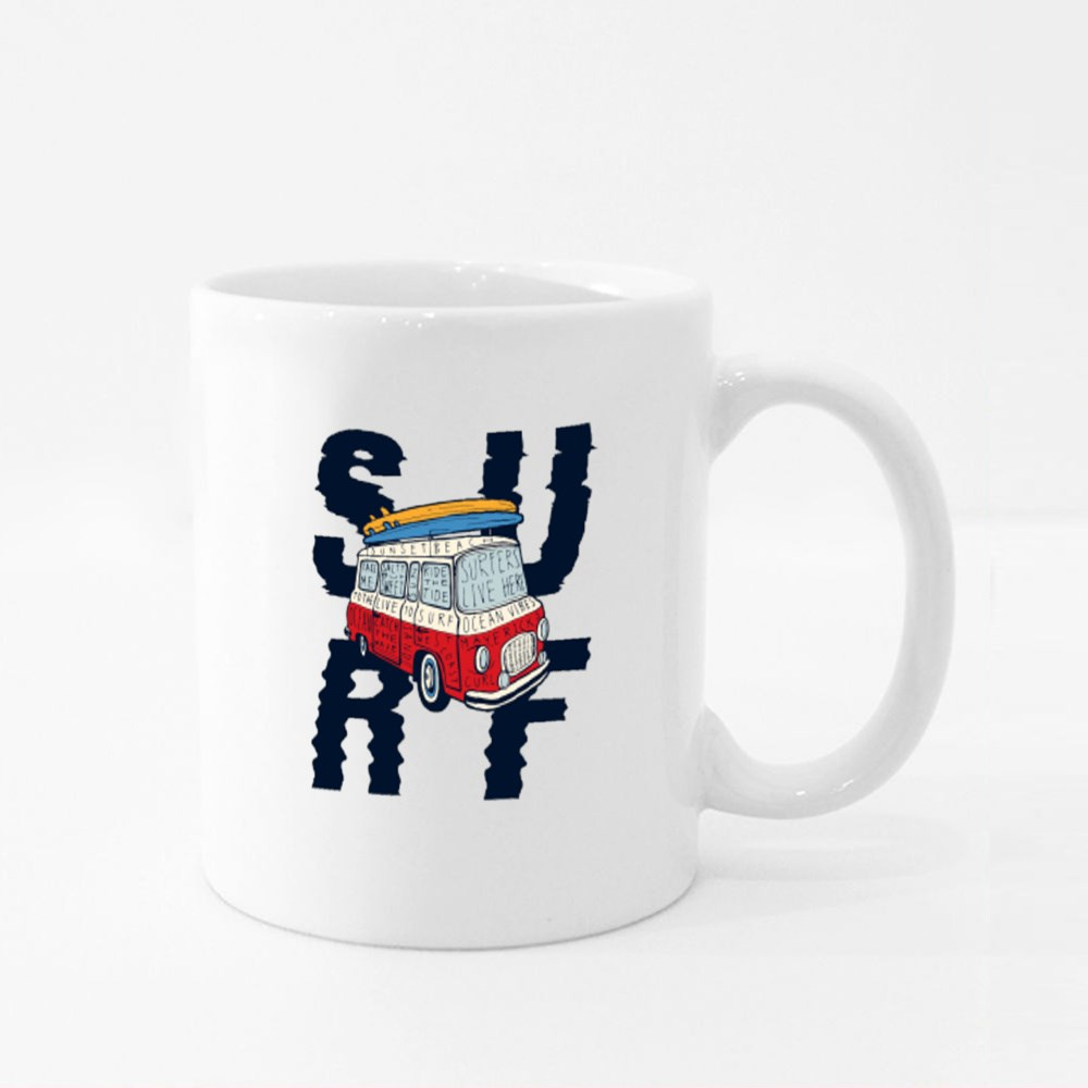 Surf - Vintage Colorful Bus With Bright Surfboards on Its Top Colour Mugs
