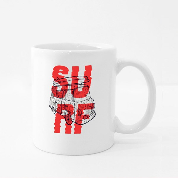 Surf With Vintage Van Lettering and Surfboards on It. Colour Mugs