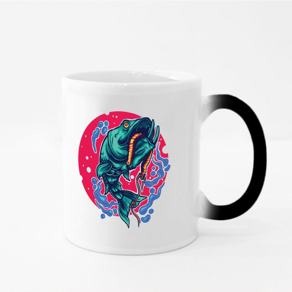 Fishing Fish Illustration Perfect for Tshirt Magic Mugs