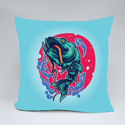 Fishing Fish Illustration Perfect for Tshirt Throw Pillows