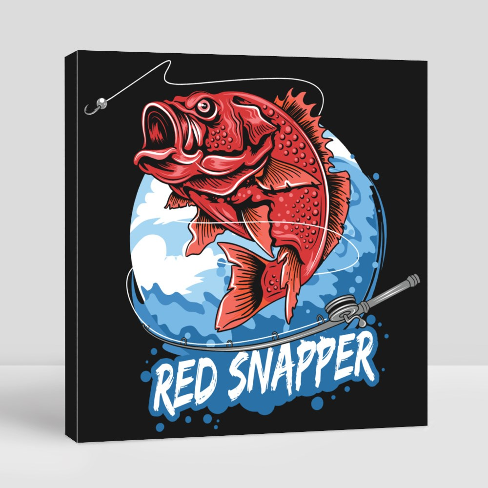 Angler Fish Red Snapper Fisherman Canvas (Square)